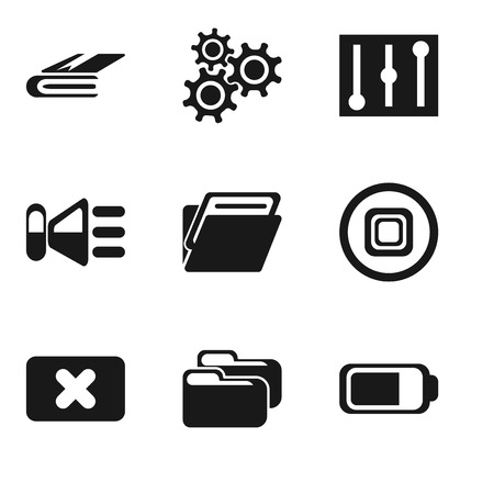 Set Of 9 simple editable icons such as Battery, Folder, Close, Stop, Speaker, Controls, Settings, Notebook, can be used for mobile, pixel perfect vector icon pack Illustration