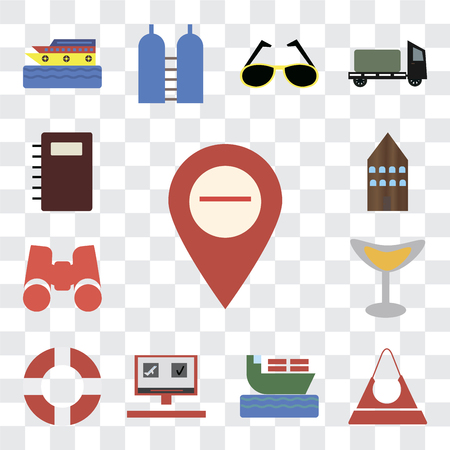 Set Of 13 transparent editable icons such as Map, Purse, Ship, Booking, Lifebuoy, Cocktail, Binoculars, Hotel, Notebook, web ui icon pack, transparency set