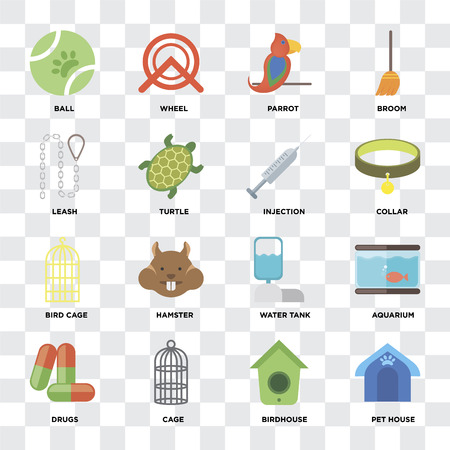 Set Of 16 icons such as Pet house, Birdhouse, Cage, Drugs, Aquarium, Ball, Leash, Bird cage, Injection on transparent background, pixel perfect Standard-Bild - 111926041