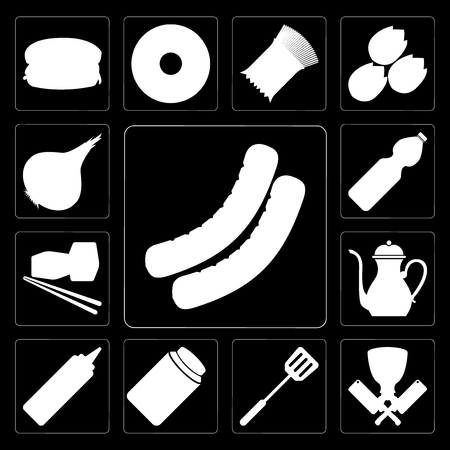 Set Of 13 simple editable icons such as Sausage, Butcher, Spatula, Honey, Mustard, Teapot, Sushi, Water, Onion on black background