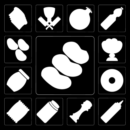 Set Of 13 simple editable icons such as Potatoes, Mustard, Pepper, Honey, Chips, Doughnut, Jam, Ice cream, Potatoes on black background Stock Illustratie
