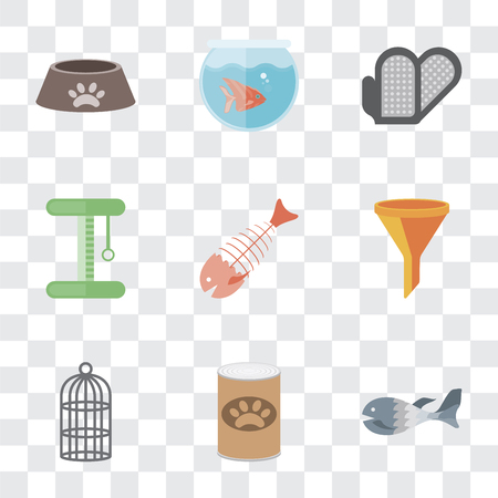 Set Of 9 simple transparency icons such as Fish, Pet food, Cage, Filter, Fish bone, Platform, Grooming glove, Fishbowl, Dog can be used for mobile, pixel perfect vector icon pack on transparent Archivio Fotografico - 111926045