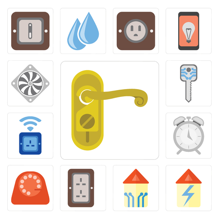 Set Of 13 simple editable icons such as Doorknob, Home, Smart home, Plug, Dial, Alarm, Socket, key, Cooler, web ui icon pack