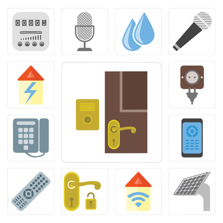 Set Of 13 simple editable icons such as Doorbell, Panel, Automation, Handle, Remote, Dial, Plug, Home, web ui icon pack