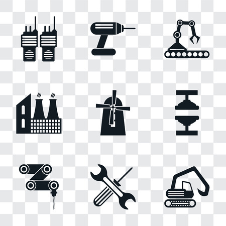 Set Of 9 simple transparency icons such as Digger, Tools, Drilling machine, Machine press, Mill, Factory, Conveyor, Drill, Walkie talkie, can be used for mobile, pixel perfect vector icon pack on Ilustração