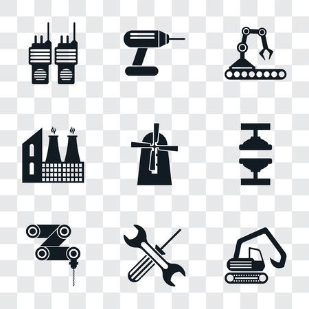 Set von 9 einfachen Transparenzsymbolen wie Bagger, Werkzeuge, Bohrmaschine, Maschinenpresse, Mühle, Fabrik, Förderband, Bohrer, Walkie-Talkie, kann für mobile, pixelperfekte Vektorsymbole verwendet werden