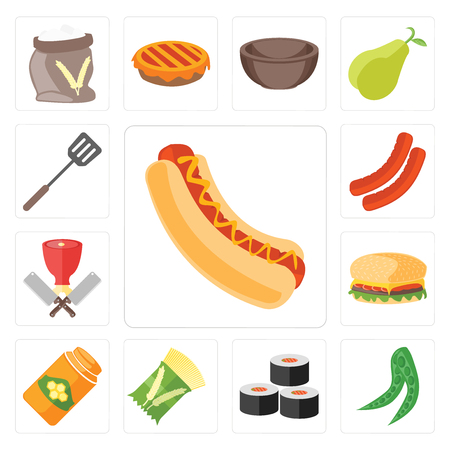 Set Of 13 simple editable icons such as Hot dog, Peas, Sushi, Pasta, Honey, Hamburguer, Butcher, Sausage, Spatula, web ui icon pack