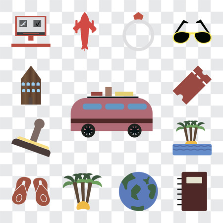 Set Of 13 transparent editable icons such as Minivan, Notebook, Travel, Palm tree, Flip flops, Island, Stamp, Tickets, Hotel, web ui icon pack, transparency set 일러스트