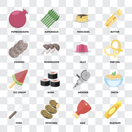 Set Of 16 icons such as Mustard, Ham, Potatoes, Fork, Pasta, Pomegranate, Cookies, Ice cream, Jelly on transparent background, pixel perfect
