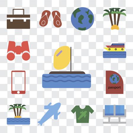 Set Of 13 transparent editable icons such as Parasailing, Waiting room, Shirt, Plane, Island, Passport, Phone, Cruise, Binoculars, web ui icon pack, transparency set