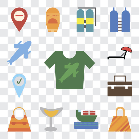 Set Of 13 transparent editable icons such as Shirt, Bag, Ship, Cocktail, Suitcase, Check in, Sunbed, Plane, web ui icon pack, transparency set