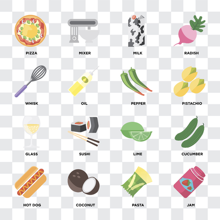 Set Of 16 icons such as Jam, Pasta, Coconut, Hot dog, Cucumber, Pizza, Whisk, Glass, Pepper on transparent background, pixel perfect
