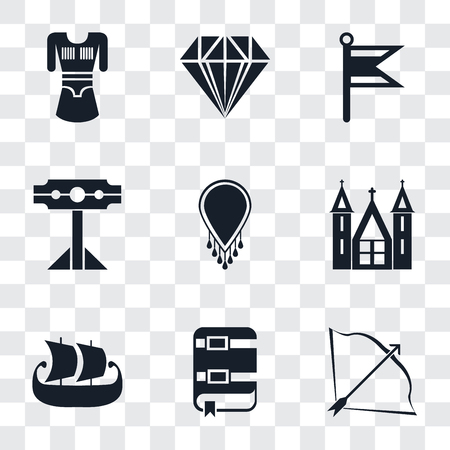 Set Of 9 simple transparency icons such as Bow and arrow, Book, Ship, Church, Necklace, Pillory, Flag, Jewelry, Tunic, can be used for mobile, pixel perfect vector icon pack on transparent background Çizim