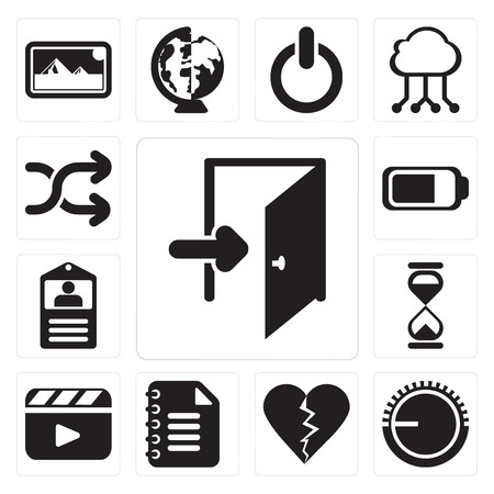 Set Of 13 simple editable icons such as Exit, Volume control, Dislike, Notepad, Video player, Hourglass, Id card, Battery, Shuffle, web ui icon pack