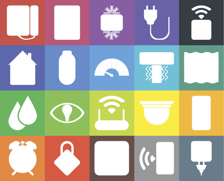 Set Of 20 icons such as Plug, Smartphone, Dimmer, Locking, Alarm, Socket, Modem, Water, Power, Air conditioner, Dial, Deep, Cool, web UI editable icon pack, pixel perfect 向量圖像