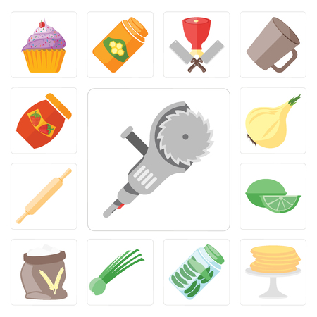 Set Of 13 simple editable icons such as Grinder, Pancakes, Pickles, Chives, Flour, Lime, Rolling pin, Onion, Jam, web ui icon pack