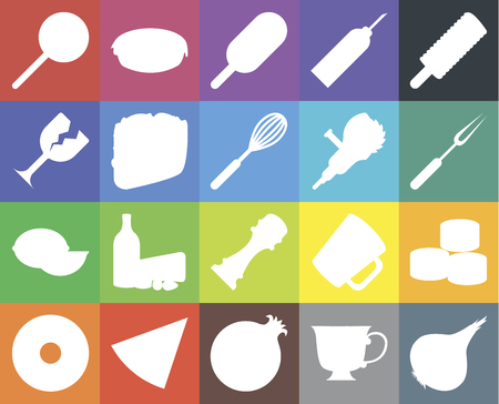 Set Of 20 icons such as Onion, Tea, Pomegranate, Pizza, Doughnut, Ice cream, Sushi, Pepper, Lime, Taco, Grinder, Jawbreaker, Fork, web UI editable icon pack, pixel perfect