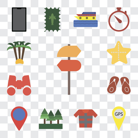 Set Of 13 transparent editable icons such as Pointer, Gps, Lifejacket, Forest, Location, Flip flops, Binoculars, Starfish, Palm tree, web ui icon pack, transparency set