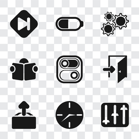 Set Of 9 simple transparency icons such as Controls, Clock, Upload, Exit, Switch, Reading, Settings, Battery, Skip, can be used for mobile, pixel perfect vector icon pack on transparent background