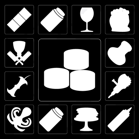 Set Of 13 simple editable icons such as Sushi, Mustard, Pancakes, Honey, Octopus, Grinder, Apple, Salt, Butcher on black background Standard-Bild - 111926076