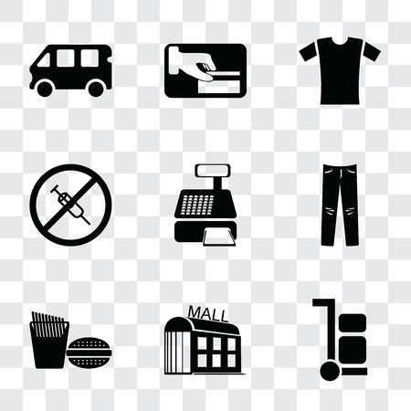 Set Of 9 simple transparency icons such as Trolley, Mall, Fast food, Jeans, Cashier machine, No drugs, Shirt, Card payment, Bus, can be used for mobile, pixel perfect vector icon pack on transparent