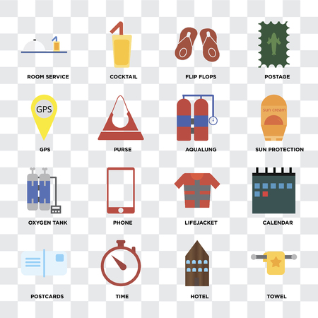 Set Of 16 icons such as Towel, Hotel, Time, Postcards, Calendar, Room service, Gps, Oxygen tank, Aqualung on transparent background, pixel perfect Illustration