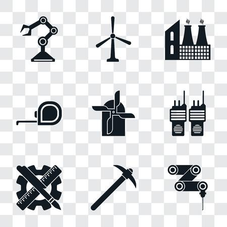 Set di 9 semplici icone di trasparenza come trapano, prelievo, pianificazione, walkie talkie, mulino, nastro di misurazione, fabbrica, mulino a vento, braccio robotico, può essere utilizzato per dispositivi mobili, pacchetto di icone vettoriali pixel perfetto Vettoriali