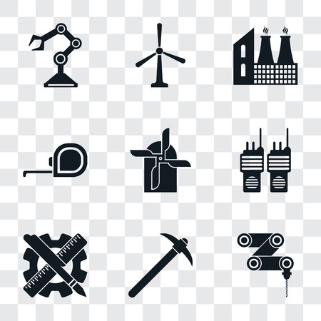 Set Of 9 simple transparency icons such as Drilling machine, Pick, Planning, Walkie talkie, Mill, Measuring tape, Factory, Windmill, Robot arm, can be used for mobile, pixel perfect vector icon pack Фото со стока - 111926079