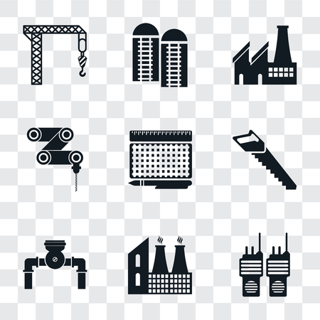 Set Of 9 simple transparency icons such as Walkie talkie, Factory, Pump, Saw, print, Drilling machine, Silo, Crane, can be used for mobile, pixel perfect vector icon pack on transparent 일러스트