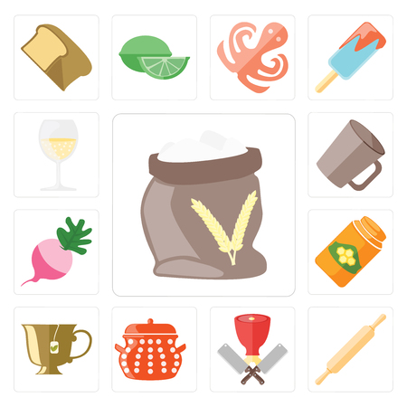 Set Of 13 simple editable icons such as Flour, Rolling pin, Butcher, Pot, Tea, Honey, Radish, Mug, Glass, web ui icon pack