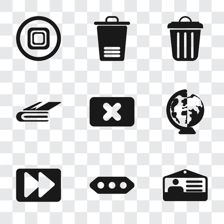 Set Of 9 simple transparency icons such as Id card, More, Fast forward, Worldwide, Close, Notebook, Garbage, Trash, Stop, can be used for mobile, pixel perfect vector icon pack on transparent