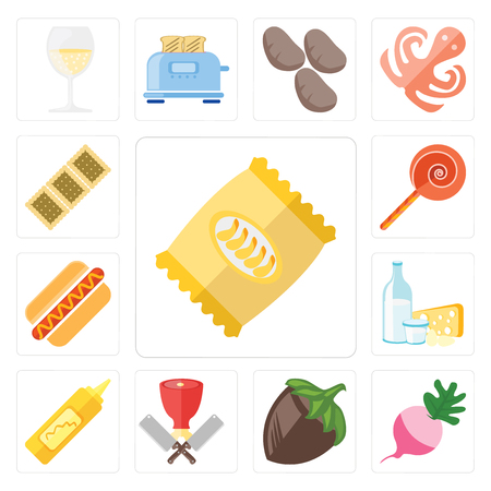 Set Of 13 simple editable icons such as Chips, Radish, Hazelnut, Butcher, Mustard, Dairy, Hot dog, Jawbreaker, Biscuit, web ui icon pack Stock Illustratie