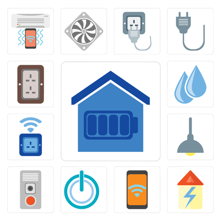 Set Of 13 simple editable icons such as Smart home, Home, Mobile, Power, Intercom, Lighting, Socket, Water, Plug, web ui icon pack