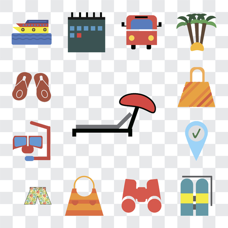 Set Of 13 transparent editable icons such as Sunbed, Aqualung, Binoculars, Bag, Swimsuit, Check in, Snorkel, Flip flops, web ui icon pack, transparency set Illustration