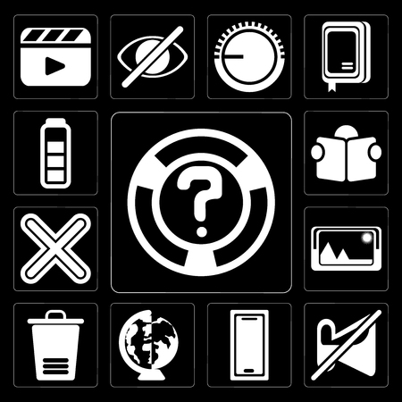 Set Of 13 simple editable icons such as Help, Muted, Smartphone, Worldwide, Trash, Picture, Multiply, Reading, Battery on black background