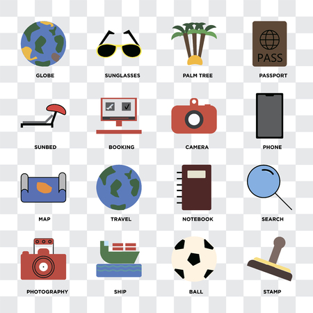 Set Of 16 icons such as Stamp, Ball, Ship, Photography, Search, Globe, Sunbed, Map, Camera on transparent background, pixel perfect