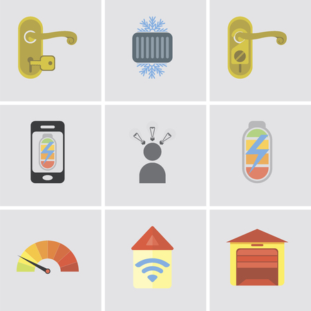 Set Of 9 simple editable icons such as Garage, Automation, Meter, Power, Smart, Mobile phone, Doorknob, Cool, Handle, can be used for mobile, pixel perfect vector icon pack