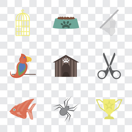 Set Of 9 simple transparency icons such as Trophy, Spider, Fish, Scissors, Kennel, Parrot, Net, Bowl, Bird cage, can be used for mobile, pixel perfect vector icon pack on transparent background Archivio Fotografico - 111926097