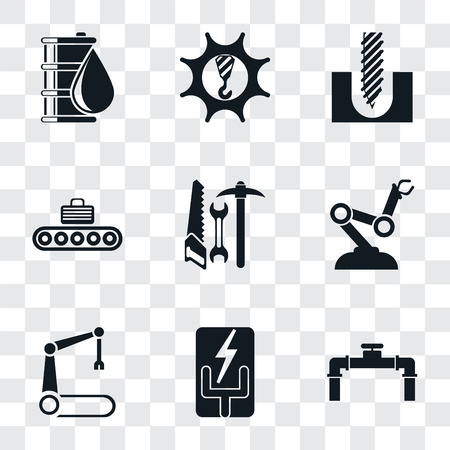 Set Of 9 simple transparency icons such as Pipe, Electricity, Robotic arm, Robot Tools, Conveyor, Drill, Machinery, Oil, can be used for mobile, pixel perfect vector icon pack on transparent Illustration
