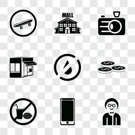 Conjunto de 9 iconos de transparencia simple como niño, teléfono inteligente, sin comida, monedas, agua, tienda, cámara, centro comercial, patineta, se puede utilizar para dispositivos móviles, paquete de iconos de vector de píxeles perfectos en transparente Ilustración de vector