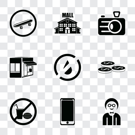 Set Of 9 simple transparency icons such as Boy, Smarthphone, No food, Coins, water, Store, Camera, Mall, Skateboard, can be used for mobile, pixel perfect vector icon pack on transparent