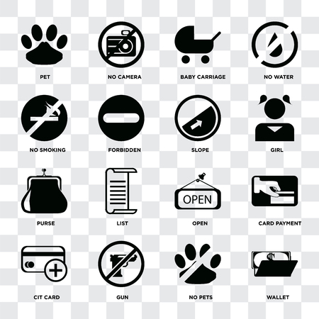 Set Of 16 icons such as Wallet, No pets, Gun, Cit card, Card payment, Pet, smoking, Purse, Slope on transparent background, pixel perfect