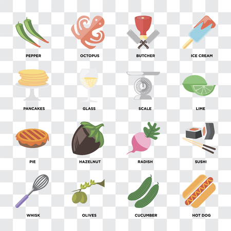 Set Of 16 icons such as Hot dog, Cucumber, Olives, Whisk, Sushi, Pepper, Pancakes, Pie, Scale on transparent background, pixel perfect Illustration