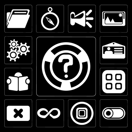 Set Of 13 simple editable icons such as Help, Switch, Stop, Infinity, Close, Menu, Reading, Id card, Settings on black background