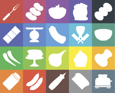 Set Of 20 icons such as Toaster, Bread, Mustard, Cucumber, Pickles, Coffee, Salt, Onion, Pepper, Scale, Butcher, Fork, Bowl, Pasta, web UI editable icon pack, pixel perfect