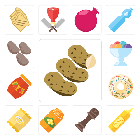 Set Of 13 simple editable icons such as Potatoes, Mustard, Pepper, Honey, Chips, Doughnut, Jam, Ice cream, web ui icon pack