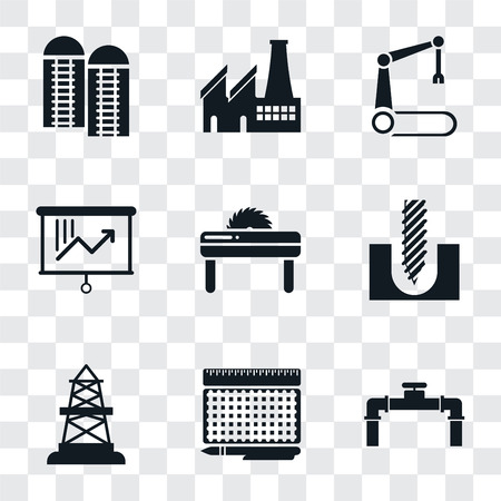 Set Of 9 simple transparency icons such as Pipe, print, Oilfield, Drill, Saw, Planning, Robotic arm, Factory, Silo, can be used for mobile, pixel perfect vector icon pack on transparent background