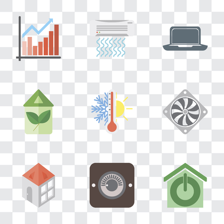 Set Of 9 simple transparency icons such as Smart home, Dimmer, Home, Cooler, Thermostat, Eco Laptop, Air conditioner, Chart, can be used for mobile, pixel perfect vector icon pack on Ilustração