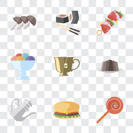 Set Of 9 simple transparency icons such as Jawbreaker, Hamburguer, Teapot, Pudding, Tea, Ice cream, Kebab, Sushi, Mushrooms, can be used for mobile, pixel perfect vector icon pack on transparent Illustration