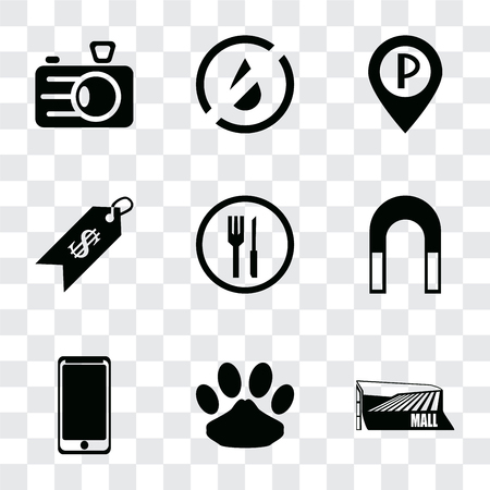Set Of 9 simple transparency icons such as Mall, Pet, Smarthphone, Magnet, Restaurant, Price, Parking, No water, Camera, can be used for mobile, pixel perfect vector icon pack on transparent